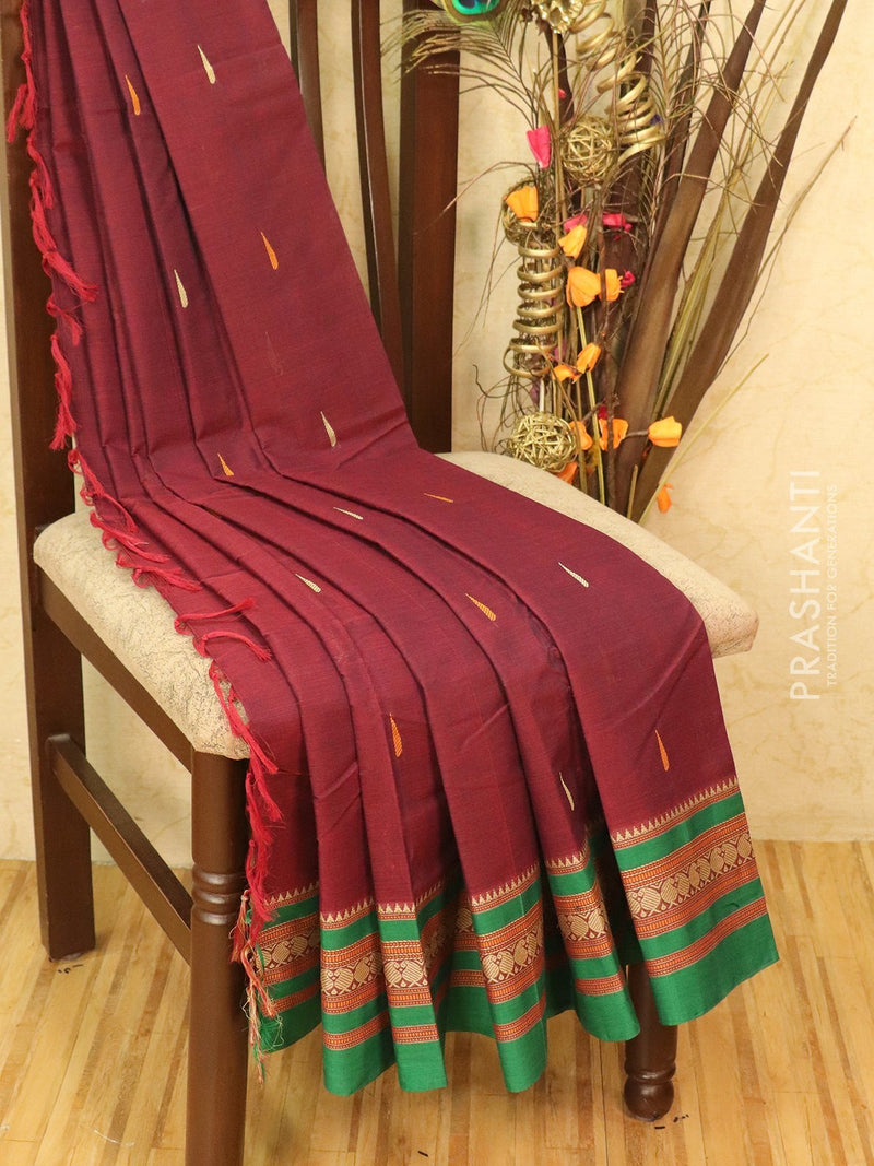 Pure Kanchi cotton saree maroon and green with rich thread woven buttas and woven border