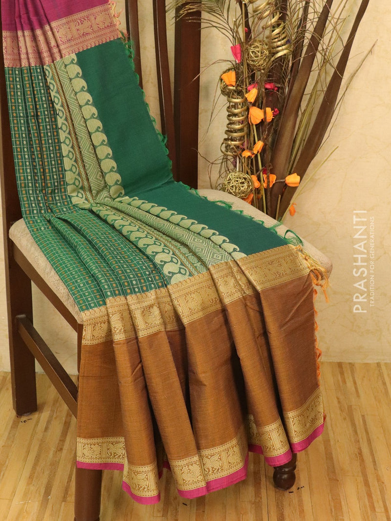 Pure Kanchi cotton saree green and mustard 1000 butta with rich thread woven body and kanchivaram border