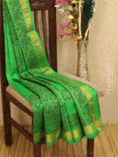 Block printed silk cotton saree parrot green with floral prints and simple zari border