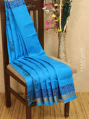 Block printed silk cotton saree blue with all over prints and simple zari border