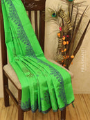 Block printed silk cotton saree green with butta prints and borderless style