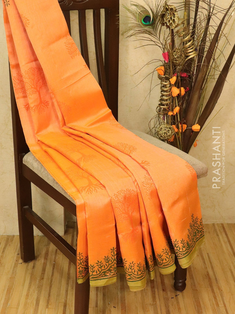 Block printed silk cotton saree peachish orange with butta prints and borderless style