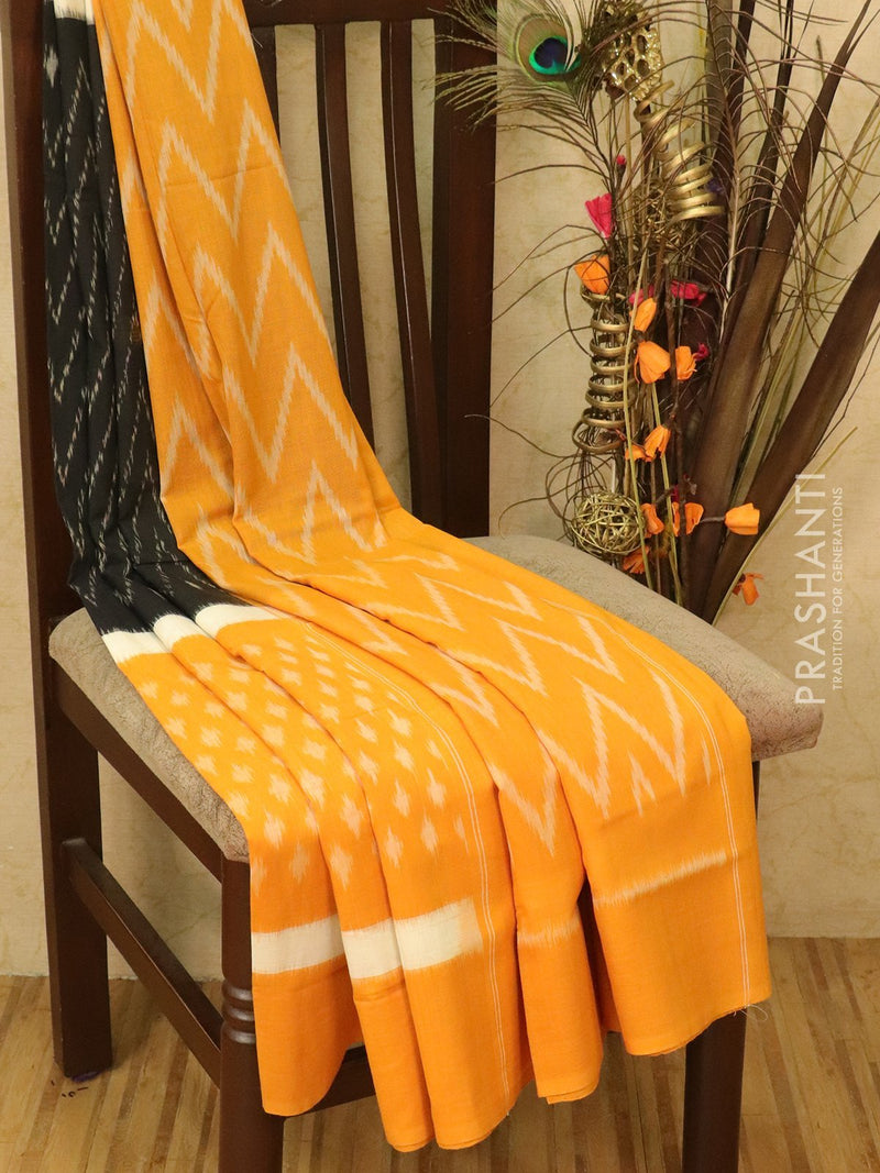 Ikat Cotton Saree black and mustard with woven ikat blouse