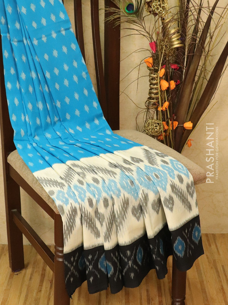 Ikat Cotton Saree cs blue off white and black with woven ikat blouse