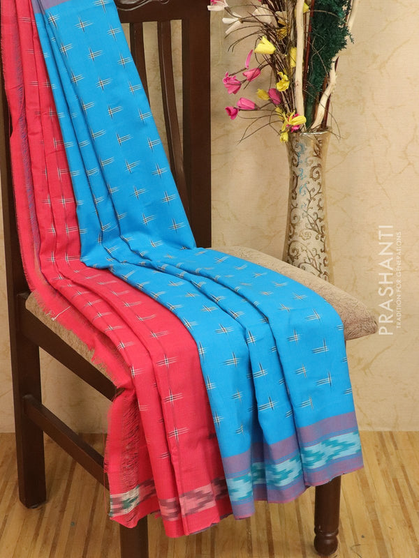 Ikat Cotton Saree cs blue and pink with woven ikat blouse