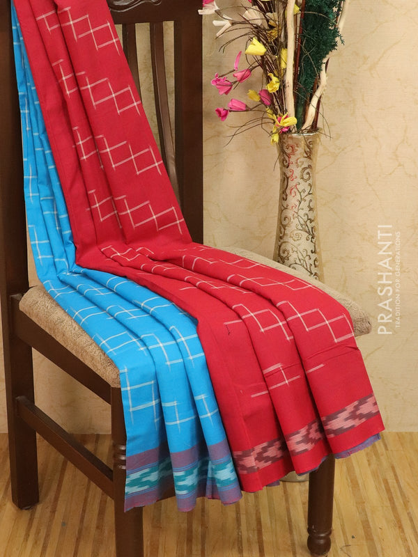 Ikat Cotton Saree cs blue and red with woven ikat blouse