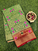 Dola Silk saree green and red with all over brocade weaves and rich zari border