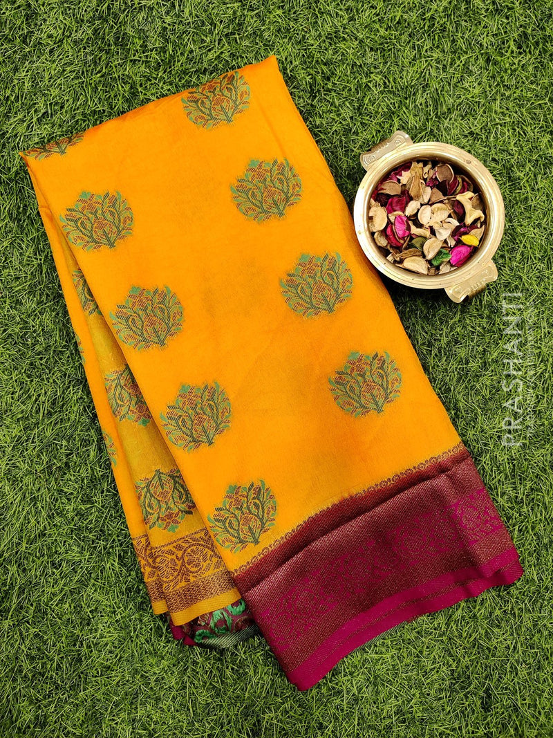 Dola Silk saree mustard yellow and magenta pink with thread buttas and rich zari border