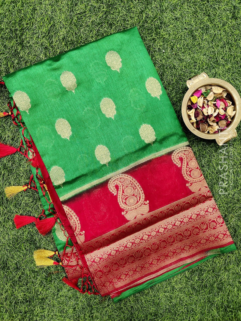 Dola Silk saree leaf green and red with zari buttas and rich zari border