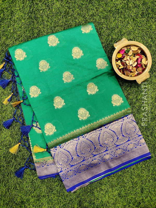 Dola Silk saree green and blue with zari buttas and rich zari border