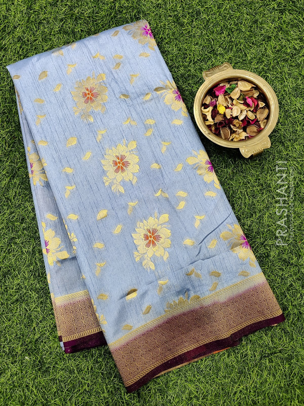 Dola Silk saree greyish blue and deep purple with zari buttas and rich zari border