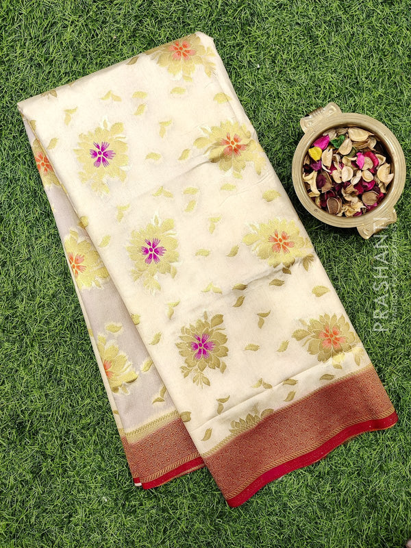 Dola Silk saree off white and red with zari buttas and rich zari border