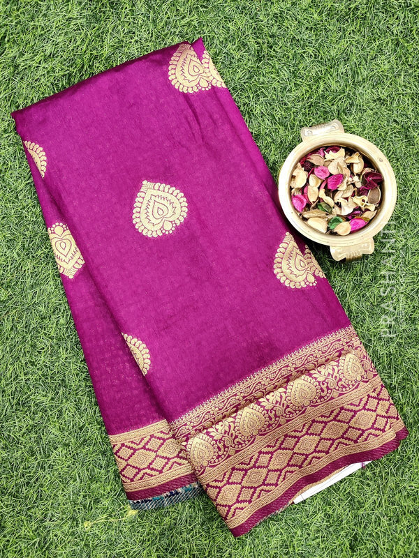 Dola Silk saree magenta with zari buttas and rich zari border