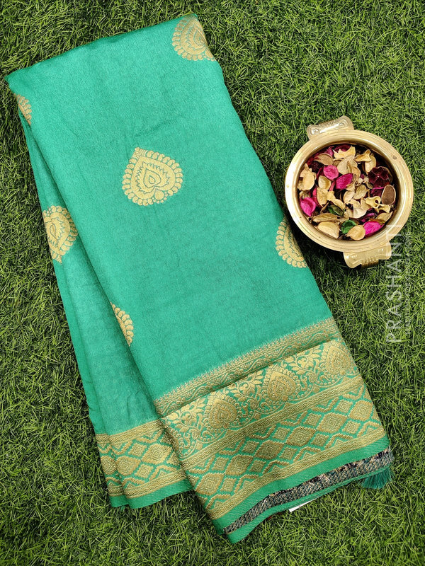 Dola Silk saree teal green with zari buttas and rich zari border