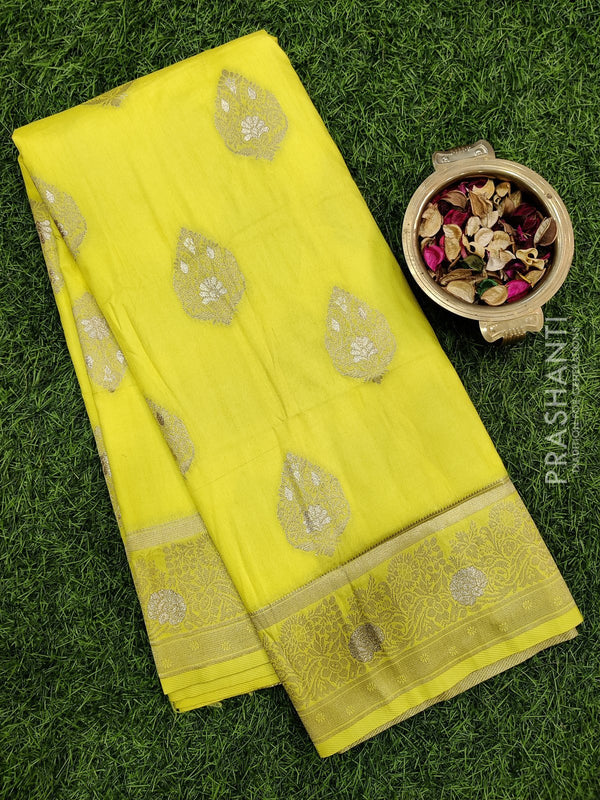 Dola Silk saree yellow with zari buttas and rich zari border