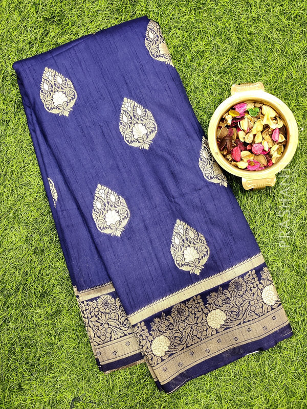 Dola Silk saree navy blue with zari buttas and rich zari border