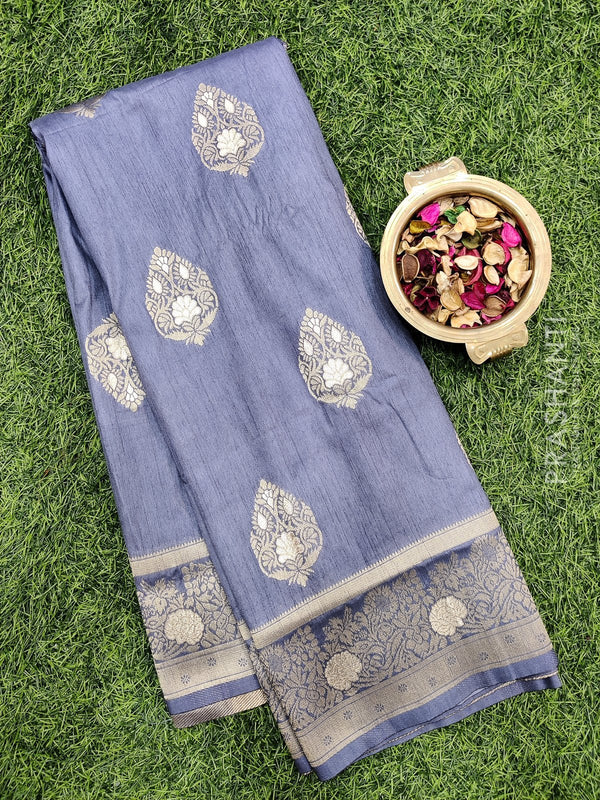 Dola Silk saree grey with zari buttas and rich zari border