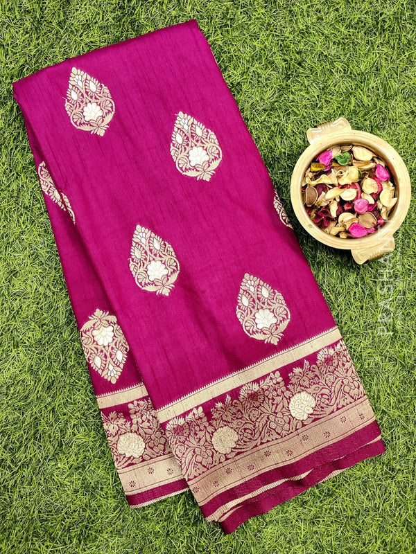Dola Silk saree deep purple with zari buttas and rich zari border