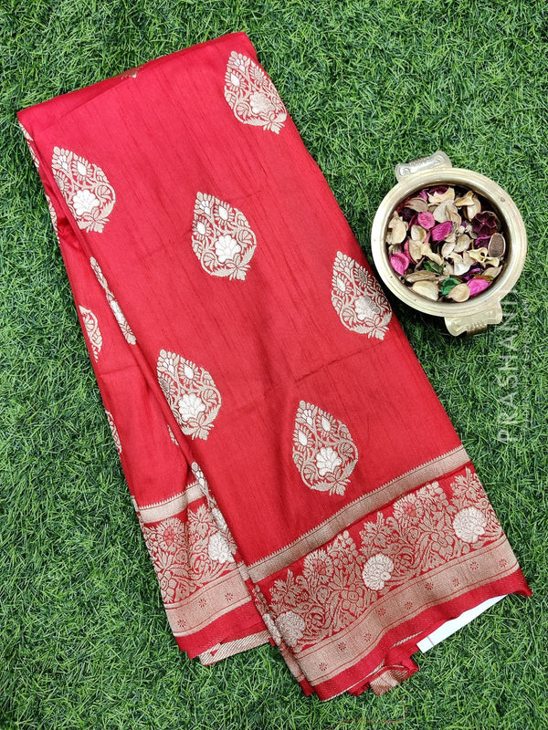 Dola Silk saree red with zari buttas and rich zari border