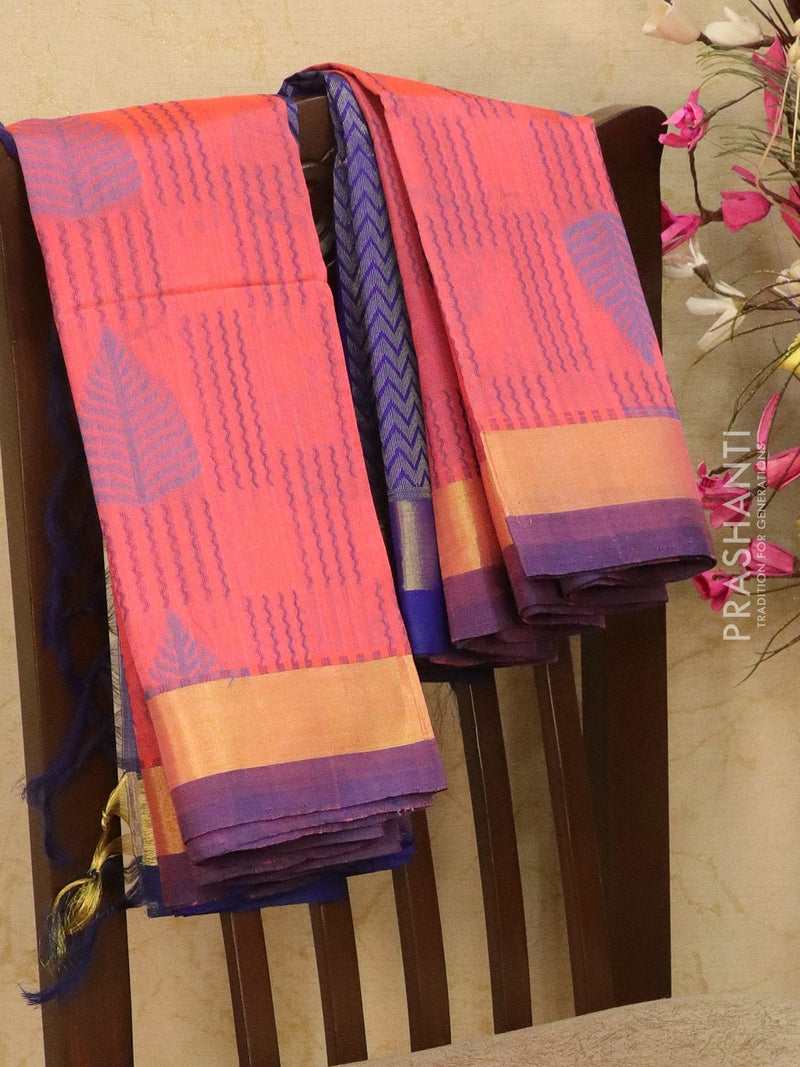 Light weight silk cotton saree peach pink and blue with thread woven pattern and rich pallu
