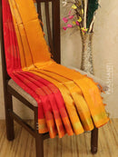 Light weight silk cotton saree red and mustard with thread woven pattern and rich pallu