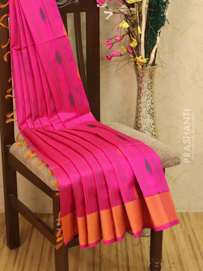Light weight silk cotton saree magenta pink and yellow with thread woven pattern and thread border