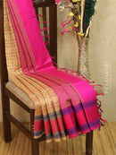 Light weight silk cotton saree beige and pink with thread woven pattern and thread border