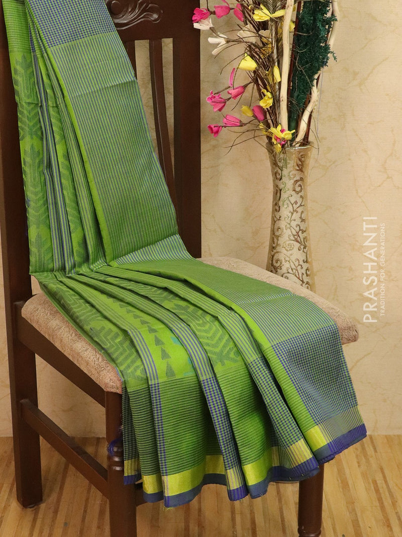 Light weight silk cotton saree light green and blue with thread woven pattern and rich pallu