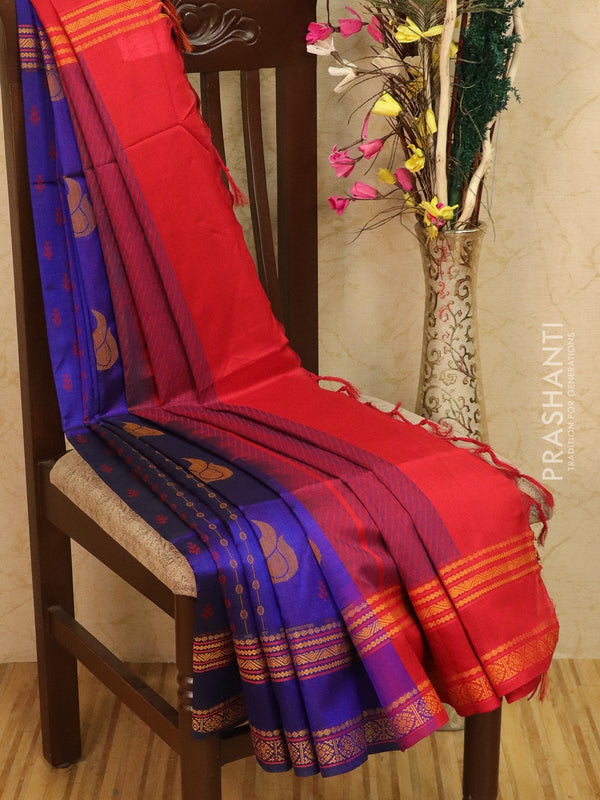 Light weight silk cotton saree blue and red with thread woven pattern and thtead pallu