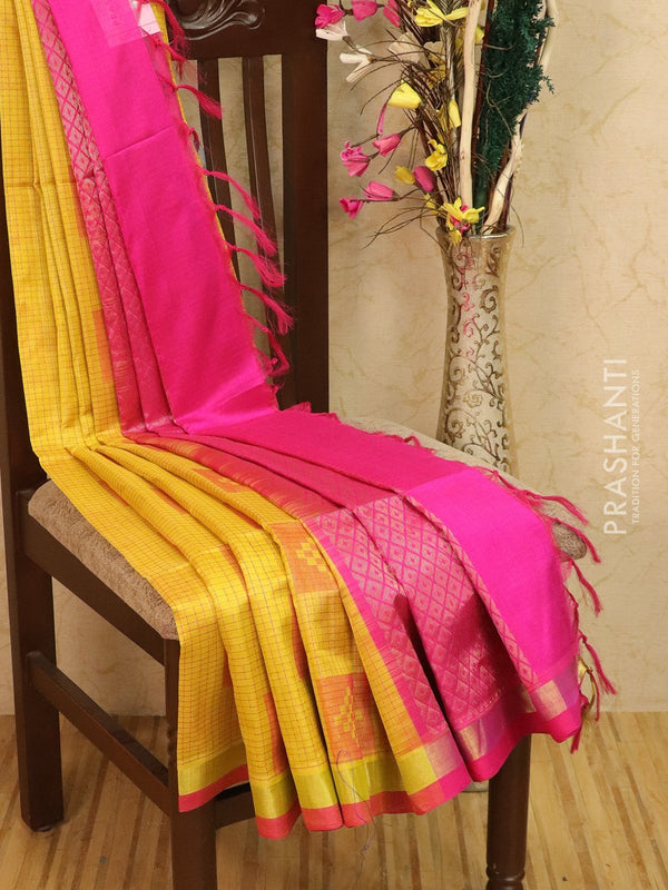 Light weight silk cotton saree mustard and pink with thread woven pattern and rich pallu