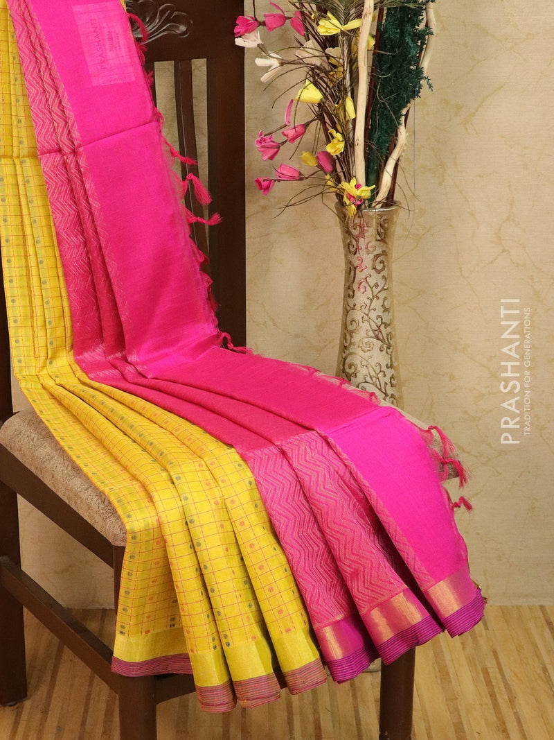 Light weight silk cotton saree yellow and pink with thread woven pattern and rich pallu