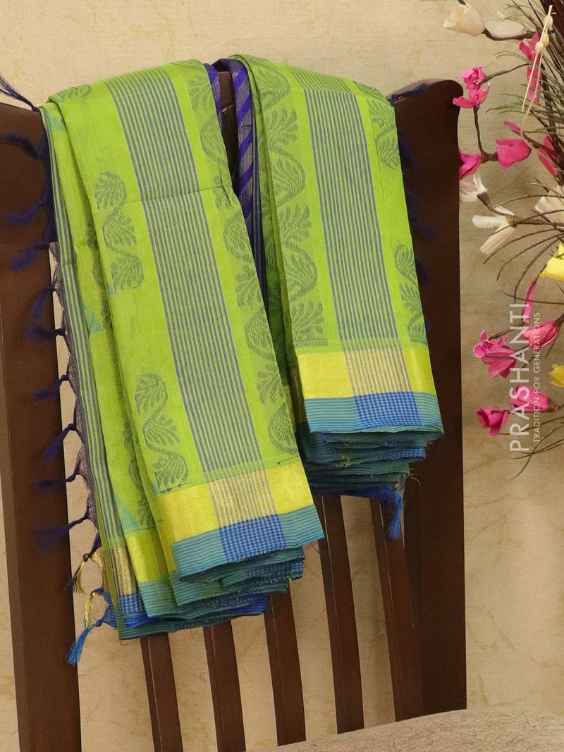 Light weight silk cotton saree lime green and blue with thread woven pattern and rich pallu