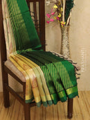 Light weight silk cotton saree beige and green with thread woven pattern and rich pallu