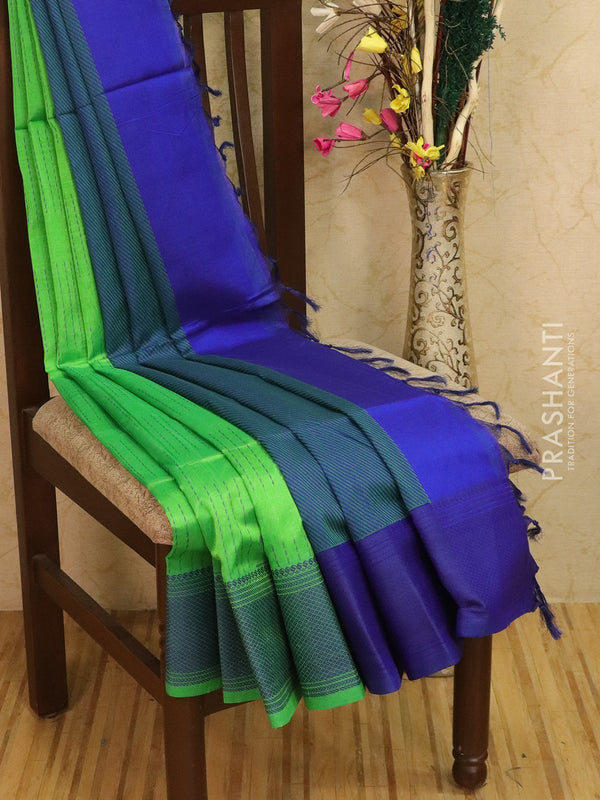 Light weight silk cotton saree green and blue with thread woven pattern and thread pallu