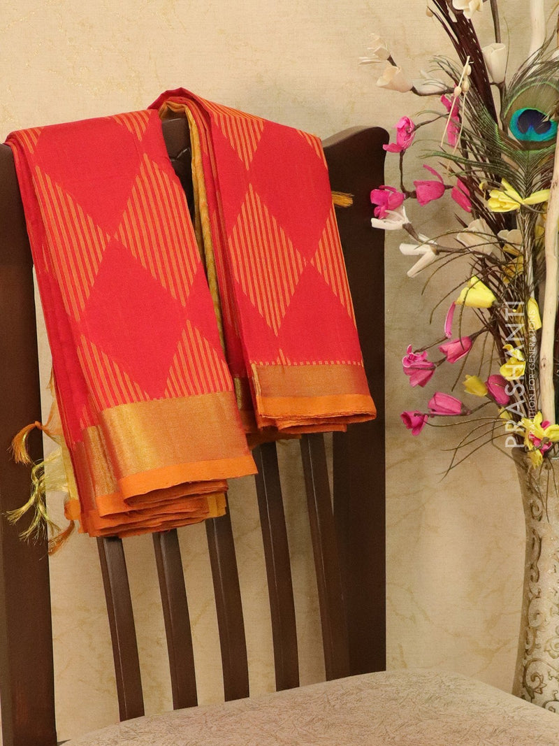 Light weight silk cotton saree red and mustard with thread woven pattern and thread pallu