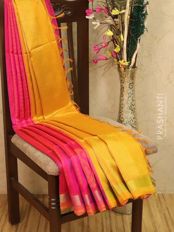 Light weight silk cotton saree pink and mustard with thread woven pattern and thread pallu