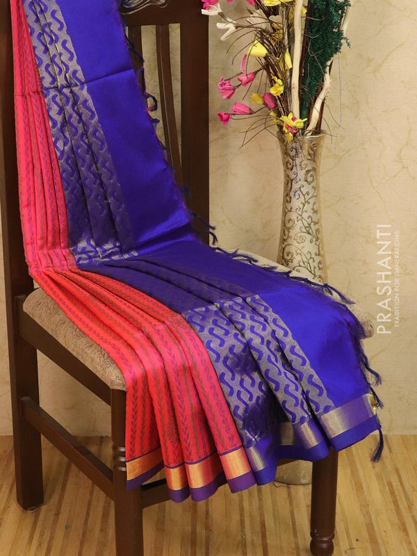 Light weight silk cotton saree pink and blue with thread woven pattern and rich pallu