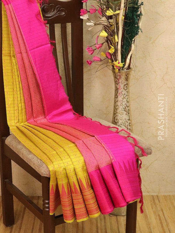 Light weight silk cotton saree lime yellow and pink with thread woven pattern and thread pallu