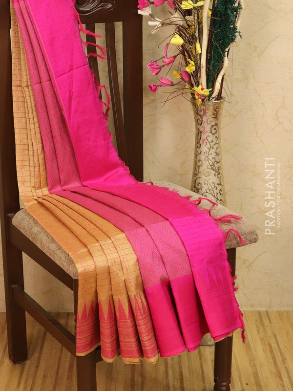 Light weight silk cotton saree beige and pink with thread woven pattern and thread pallu