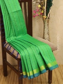 Light weight silk cotton saree green and blue with thread woven pattern and rich pallu