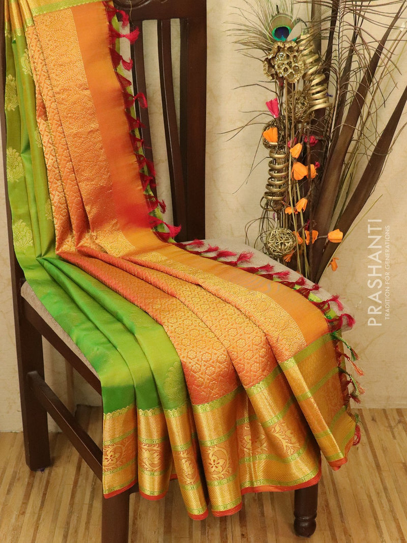 Pure kanjivaram silk saree green and rust with zari woven buttas and rich border