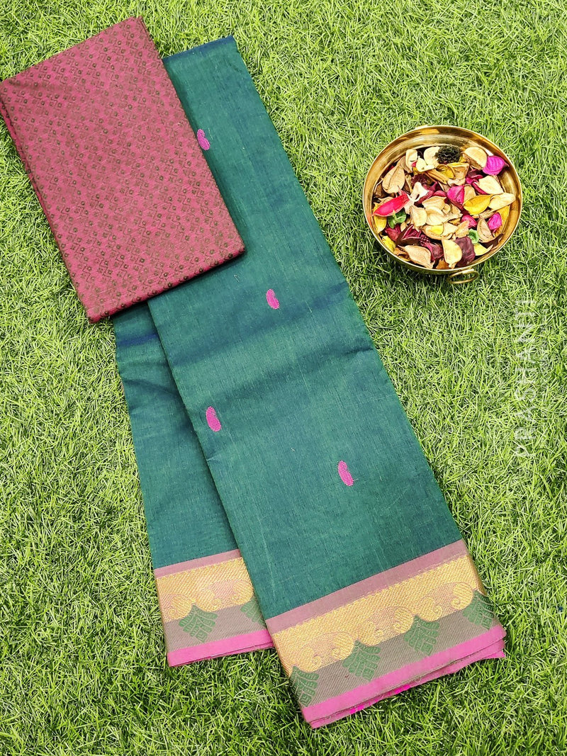 Chettinad cotton saree green and pink with zari woven border and woven blouse