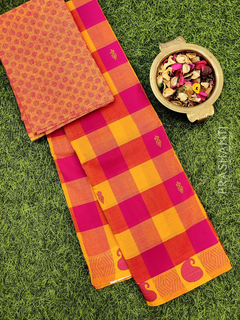Chettinad cotton saree pink and yellow with thread woven border and woven blouse