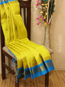 Silk Cotton saree yellow and cs blue with rich korvai zari border