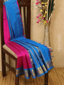 Silk Cotton saree magenta pink and cs blue with rich korvai zari border