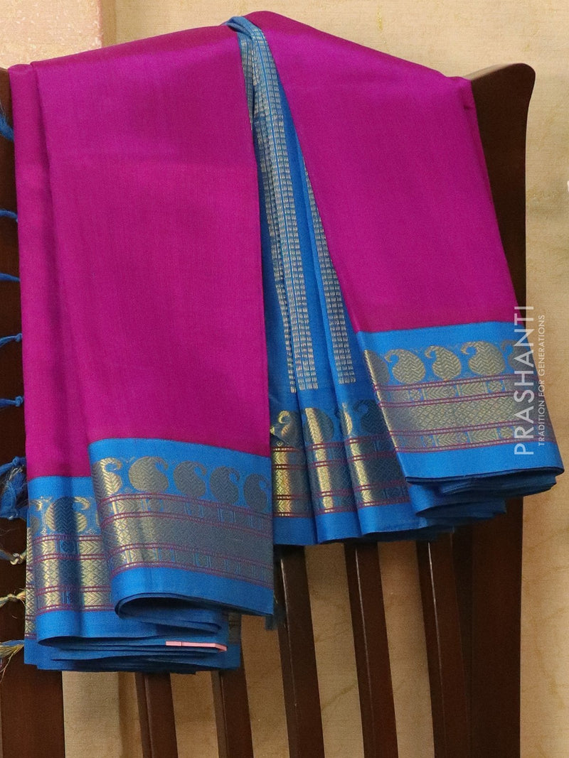 Silk Cotton saree purple and cs blue with rich korvai zari border