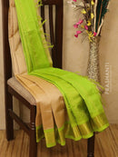 Silk Cotton saree beige and green with rich korvai zari border