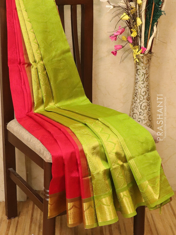 Silk Cotton saree tomato red and green with allover self emboss Jacquard and rich korvai border
