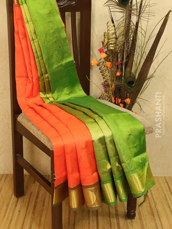 Silk Cotton saree orange and green with allover self emboss Jacquard and rich korvai border