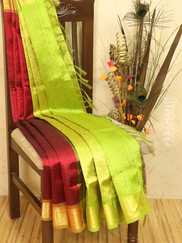 Silk Cotton saree maroon and green with allover self emboss Jacquard and rich korvai border